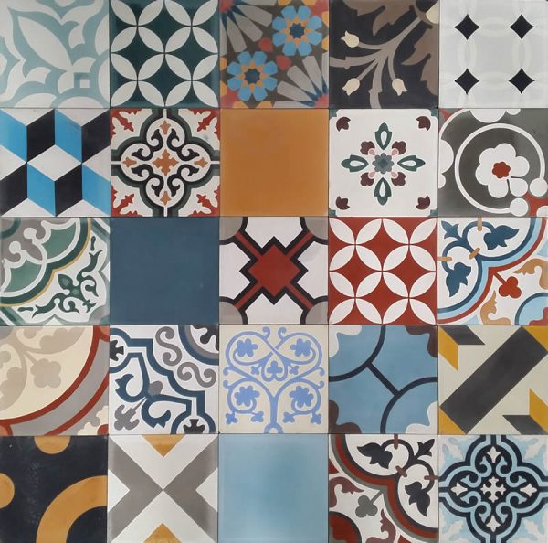Moroccan Encaustic Cement Pattern Random Mix Colourful