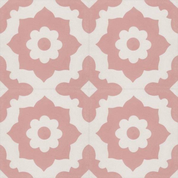 Moroccan Encaustic Cement 04a Floral Pink