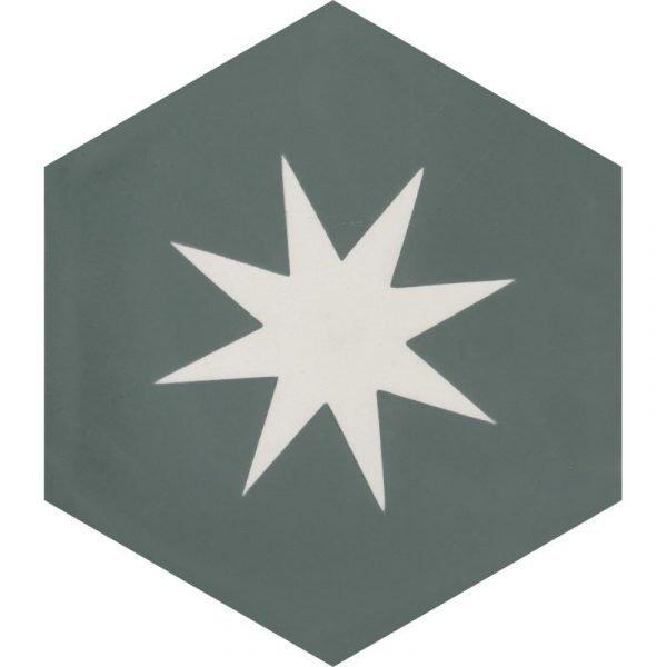 Moroccan Encaustic Cement Hexagonal Teal Big Star