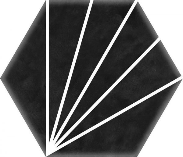 Geometric Striped Hexagon Black 15cm x 17.5cm
