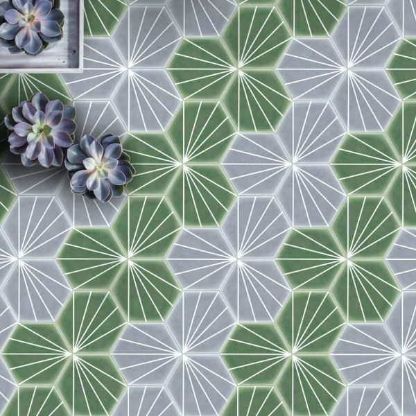 Geometric Striped Hexagon Green 15cm x 17.5cm