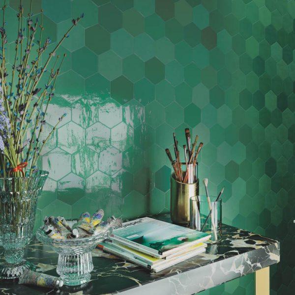 Fabricated Zellige Hexa Emerald 10.8cm x 12.4cm