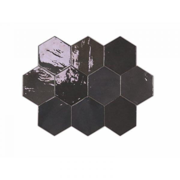 Fabricated Zellige Hexa Graphite 10.8cm x 12.4cm