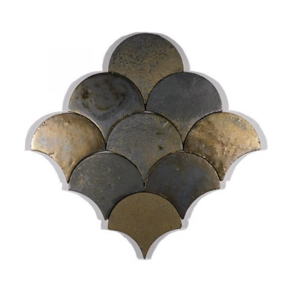 Zellige Iron Copper Fishscale 13cm x 12cm