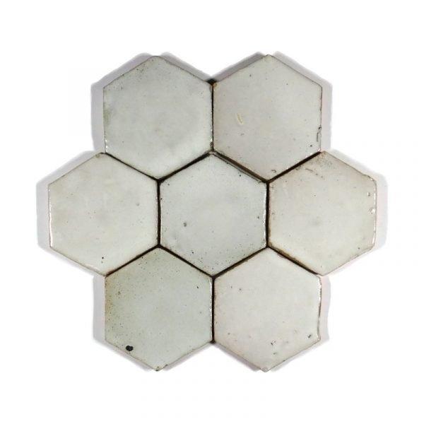 Zellige Hexagonal White 10cm x 11.6cm