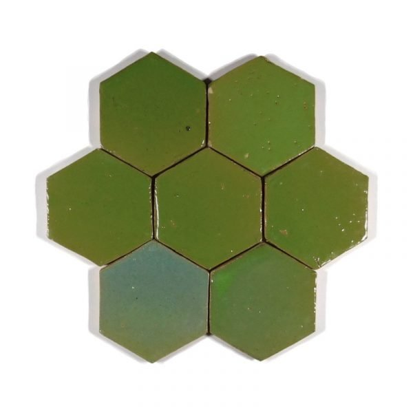 Zellige Hexagonal Avocado 10cm x 11.6cm