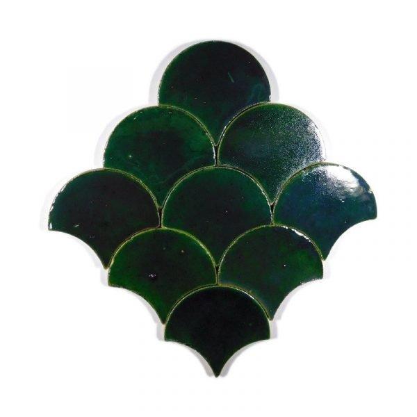 Zellige Jade  Fishscale 13cm x 12cm