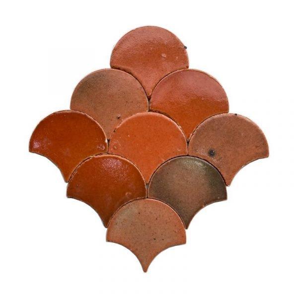 Zellige Orange Fishscale 12cm x 12cm