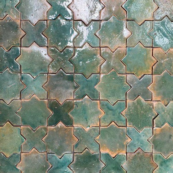 Zellige Star Cross Jade 12cm x 12cm