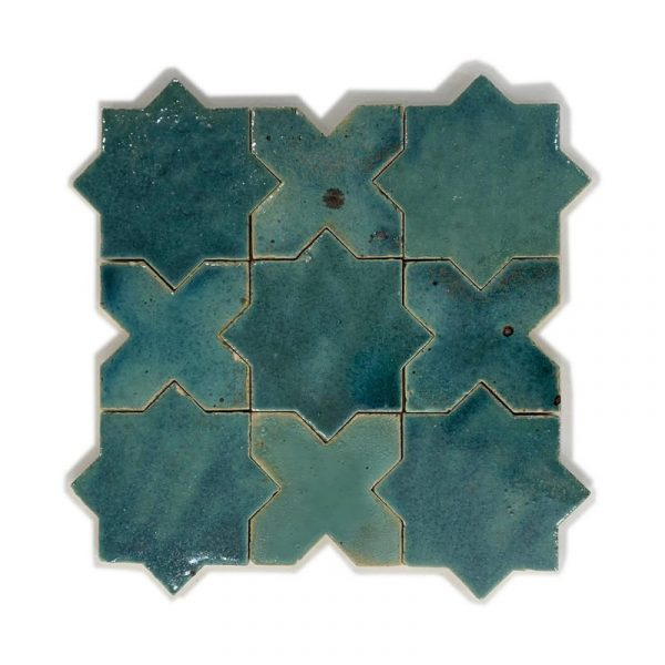 Zellige Star Cross Turquoise 12cm x 12cm